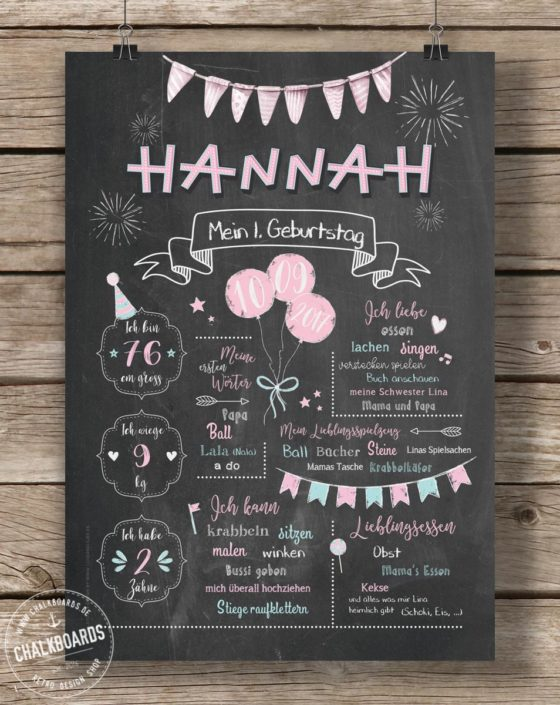 Baby Chalkboard Hannah