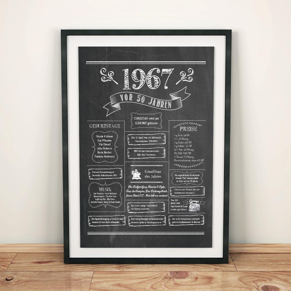 Retro Chalkboard / Jahrgangsposter 1967