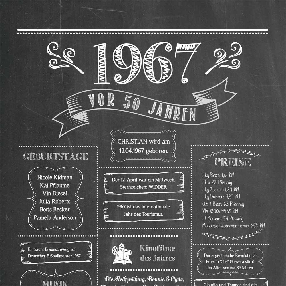 Retro Chalkboard / Jahrgangsposter 1967 Details