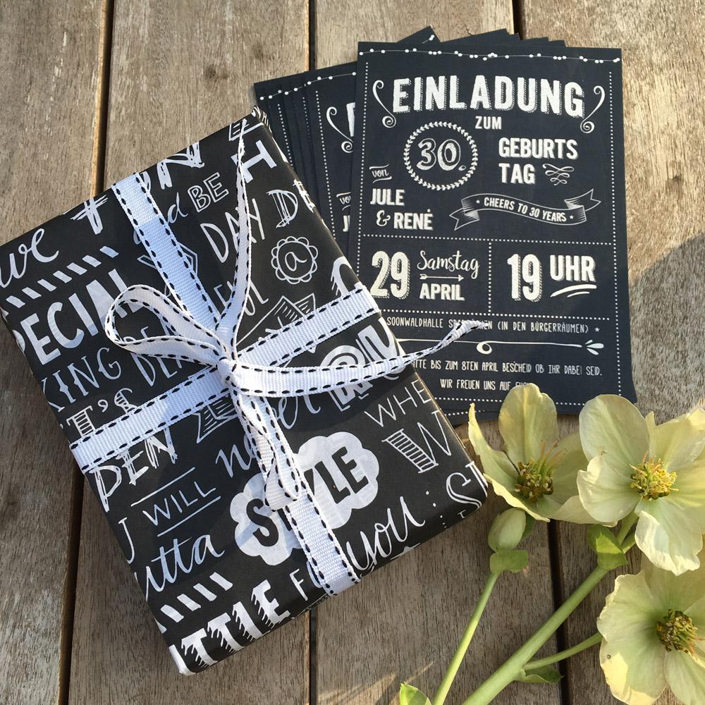 Retro-Einladung zum Geburtstag - Chalkboards.de