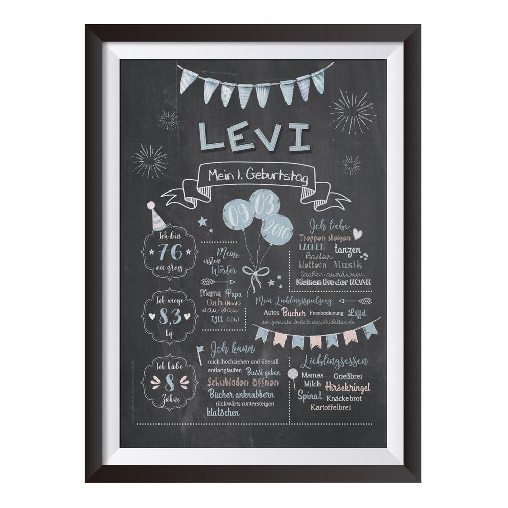 Baby-Chalkboard zum 1. Geburtstag für Jungen / Namensschrift: verspielt