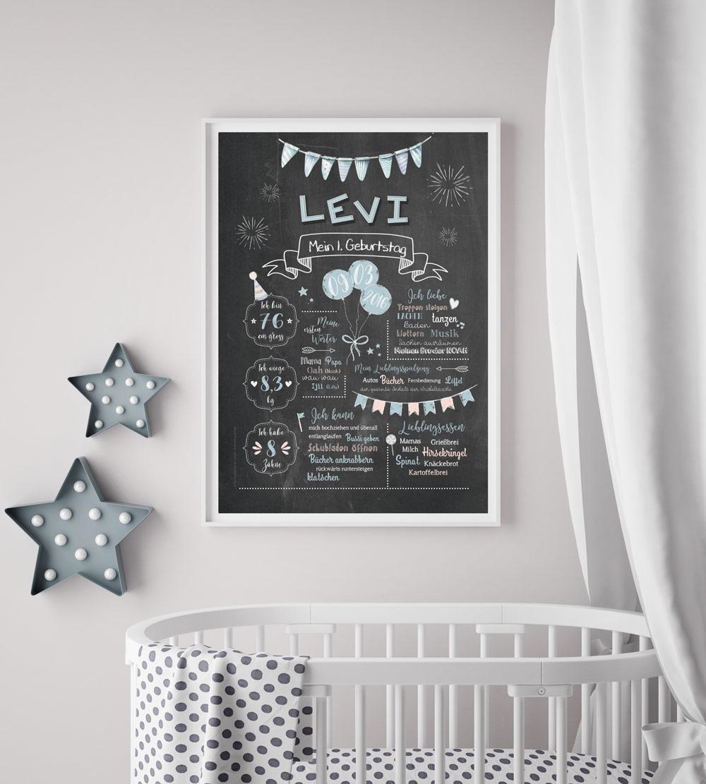 Baby-Chalkboard zum 1. Geburtstag für Jungen
