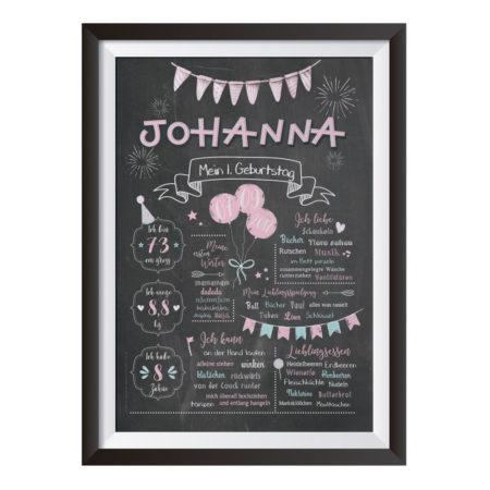 Baby-Chalkboard zum 1. Geburtstag für Mädchen / Namensschrift: verspielt