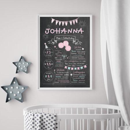 Baby-Chalkboard zum 1. Geburtstag für Mädchen