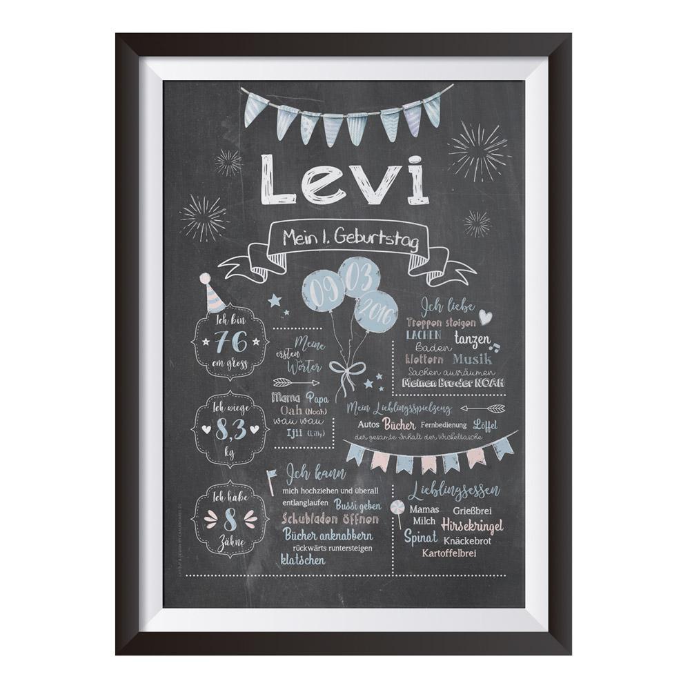 Baby-Chalkboard zum 1. Geburtstag für Jungen / Namensschrift: klar