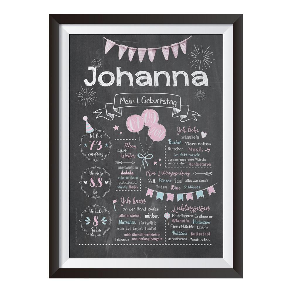 Baby-Chalkboard zum 1. Geburtstag für Mädchen / Namensschrift: klar