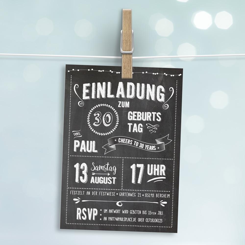 Einladungen Geburtstag: Retro Einladung Zum Geburtstag DUNKEL (Postkarte Gedruckt