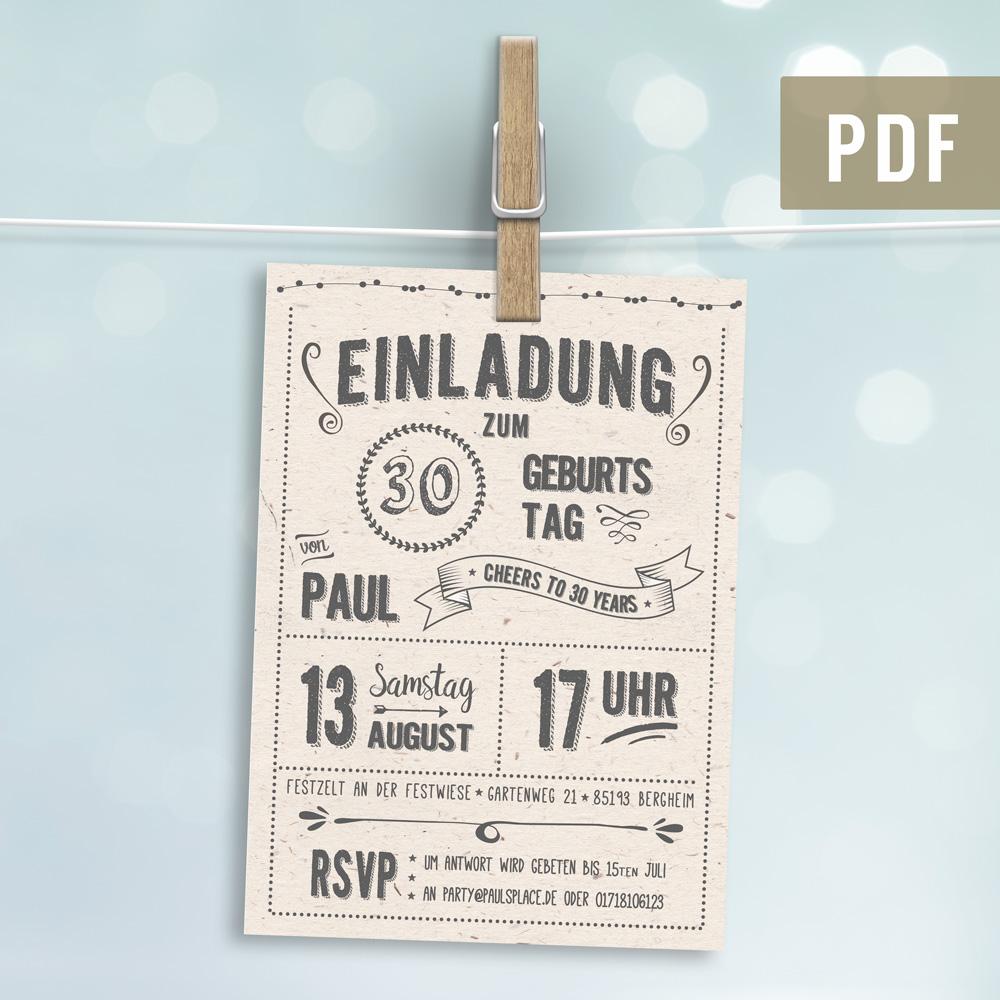 Retro Einladung zum Geburtstag DUNKEL Postkarte gedruckt