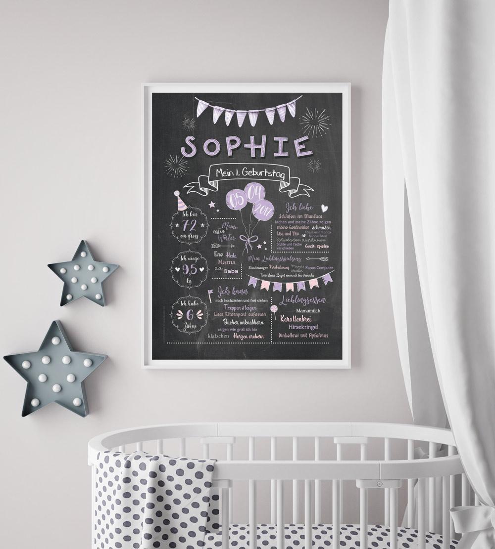Baby-Chalkboard/Geburtstagsposter/Meilensteintafel zum 1. Geburtstag flieder
