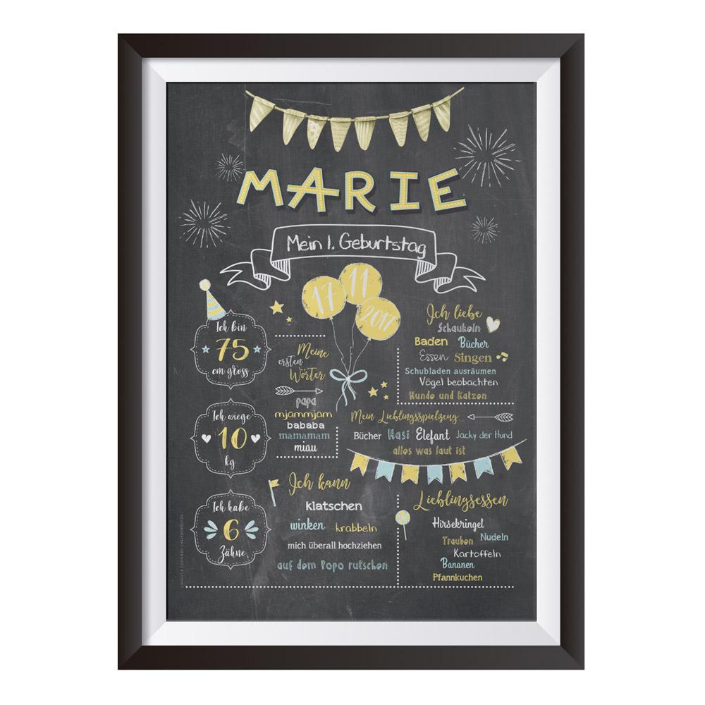 Baby-Chalkboard zum 1. Geburtstag zitronengelb/taubenblau / Namensschrift: verspielt