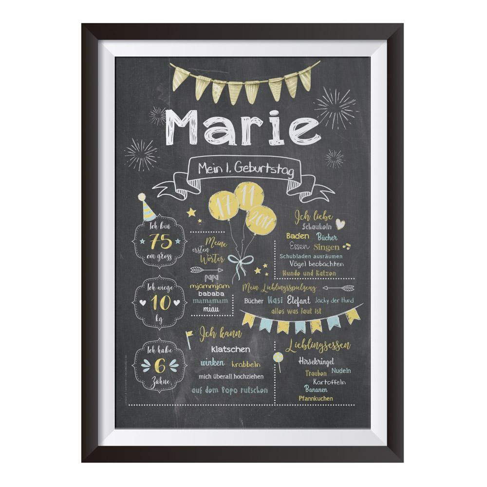 Baby-Chalkboard zum 1. Geburtstag zitronengelb/taubenblau / Namensschrift: klar