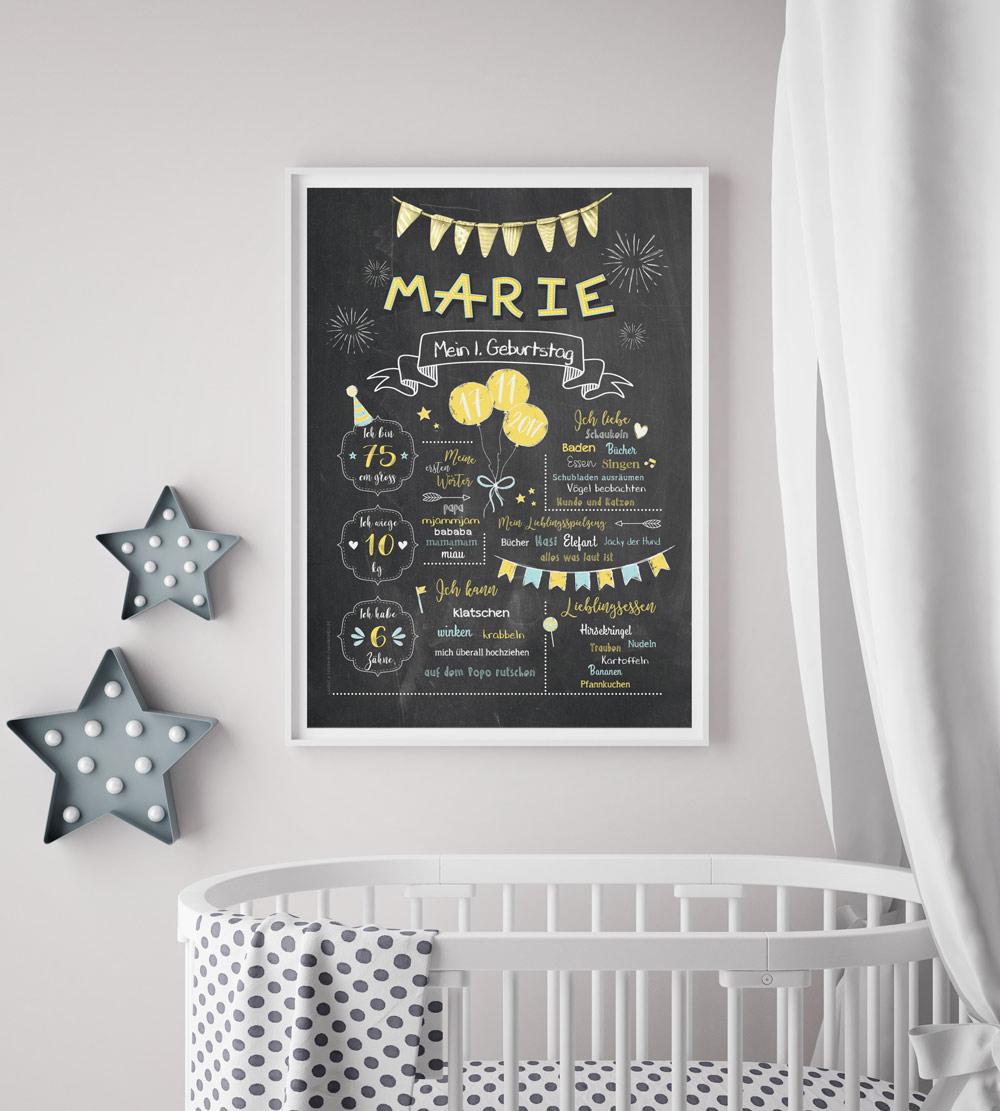 Baby-Chalkboard/Geburtstagsposter/Meilensteintafel zum 1. Geburtstag zitronengelb/taubenblau