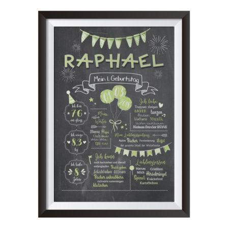 Baby-Chalkboard zum 1. Geburtstag / grün / Namensschrift: verspielt