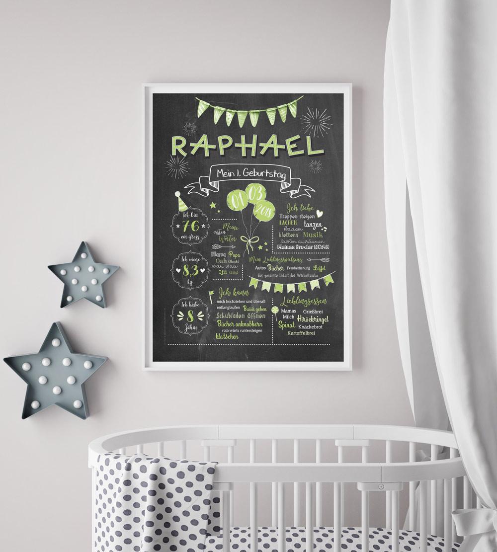 Baby-Chalkboard/Geburtstagsposter/Meilensteintafel zum 1. Geburtstag grün