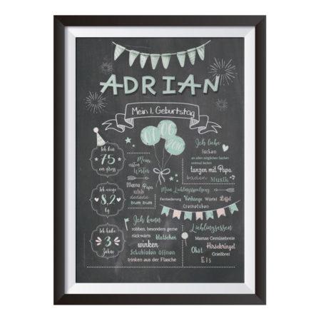 Baby-Chalkboard zum 1. Geburtstag / mint / Namensschrift: verspielt