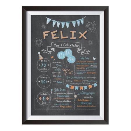 Baby-Chalkboard zum 1. Geburtstag / hellblau/orange / Namensschrift: verspielt
