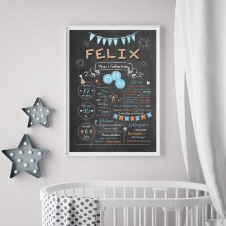 Baby-Chalkboard/Geburtstagsposter/Meilensteintafel zum 1. Geburtstag hellblau/orange