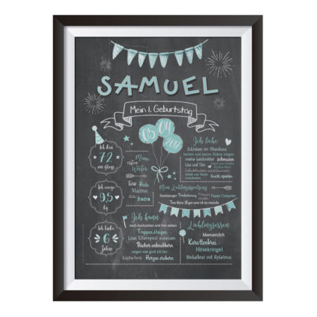Baby-Chalkboard zum 1. Geburtstag türkis/mintblau / Namensschrift: verspielt