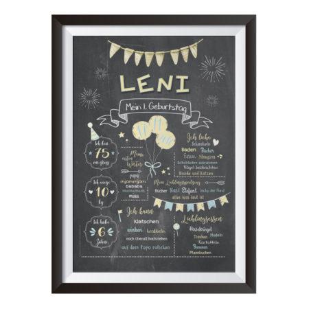 Baby-Chalkboard zum 1. Geburtstag vanille/taubenblau / Namensschrift: verspielt