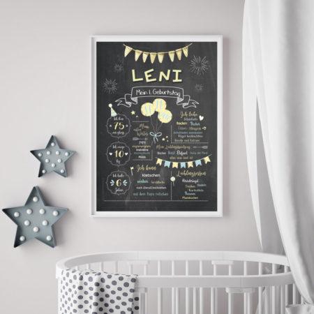 Baby-Chalkboard/Geburtstagsposter/Meilensteintafel zum 1. Geburtstag vanille/taubenblau
