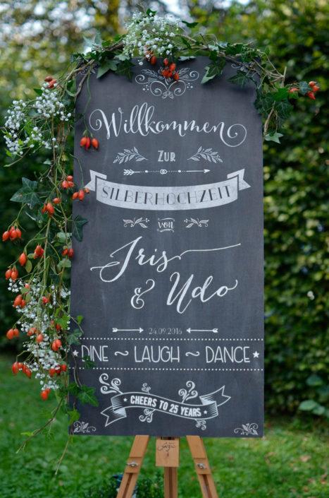 Chalkboard zur Silberhochzeit / Hochzeit