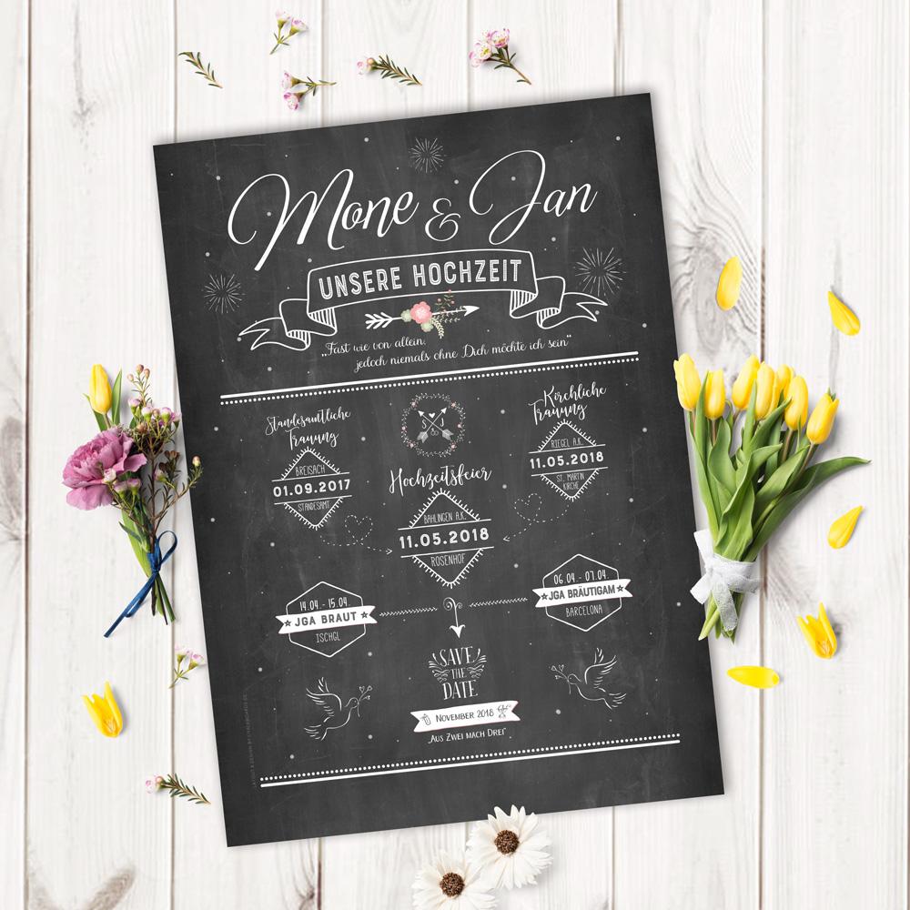 """Chalkboard """"Unsere Hochzeit"""""""