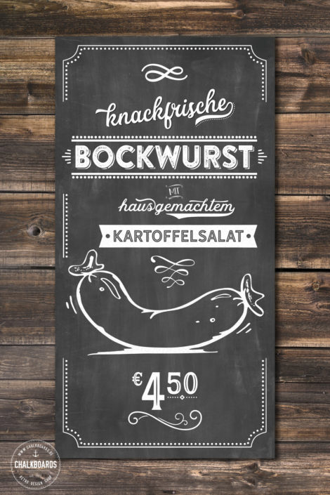 "Chalkboard Verkaufsschild ""knackfrische Bockwurst"""