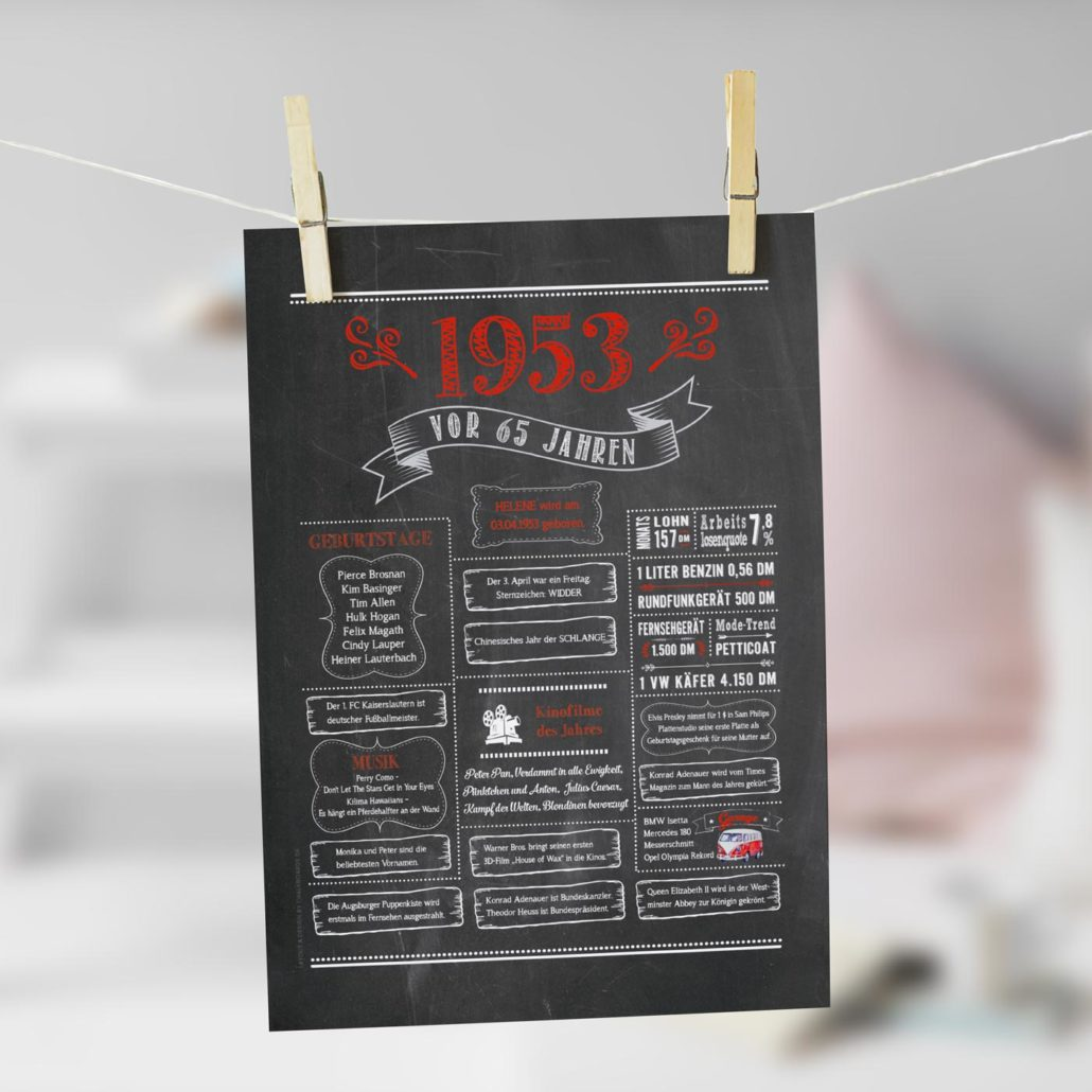 Jahrgangs-Chalkboard 1953 rot