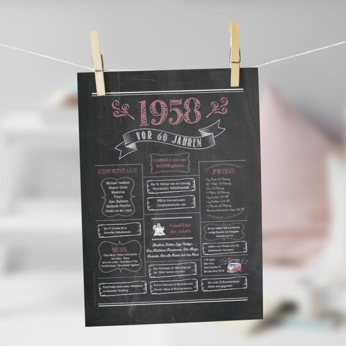Jahrgangs-Chalkboard 1958 rosegold