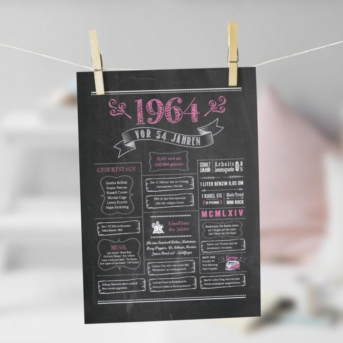 Jahrgangs-Chalkboard 1964 rosa