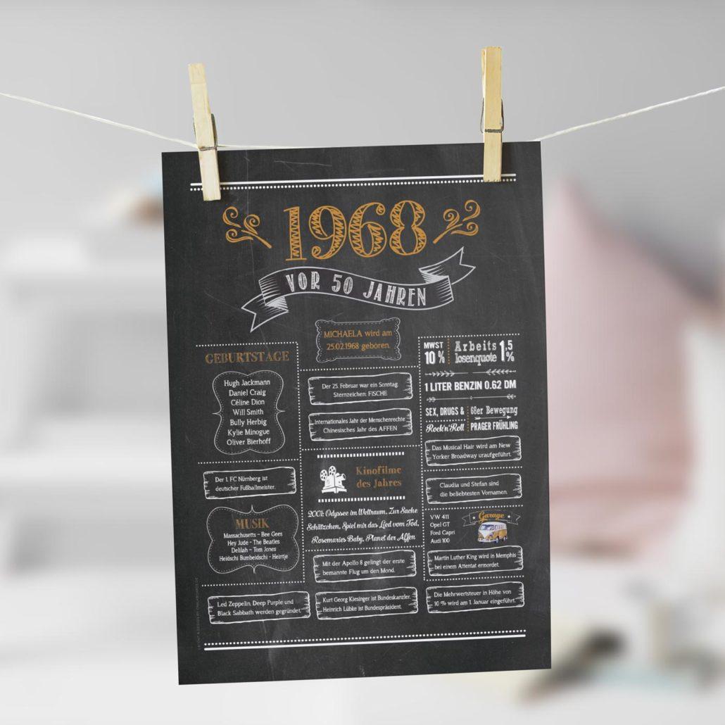Jahrgangs-Chalkboard 1968 goldbraun