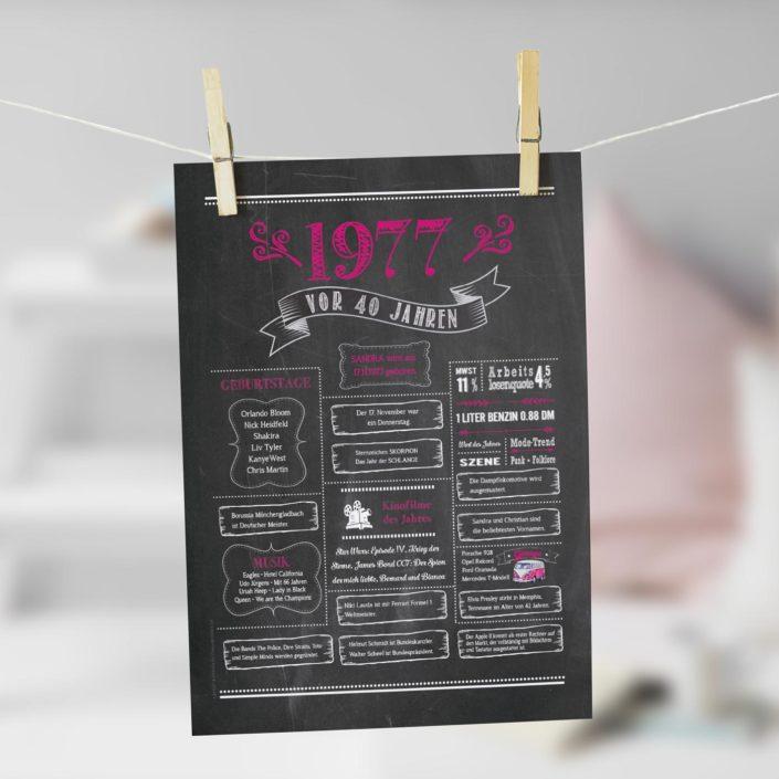 Jahrgangs-Chalkboard 1977 pink