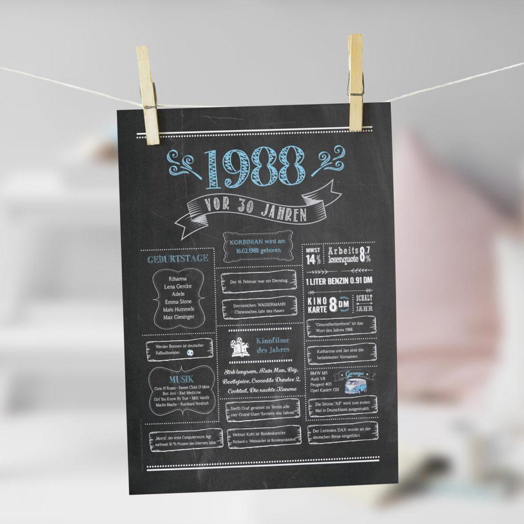 Jahrgangs-Chalkboard 1988 hellblau