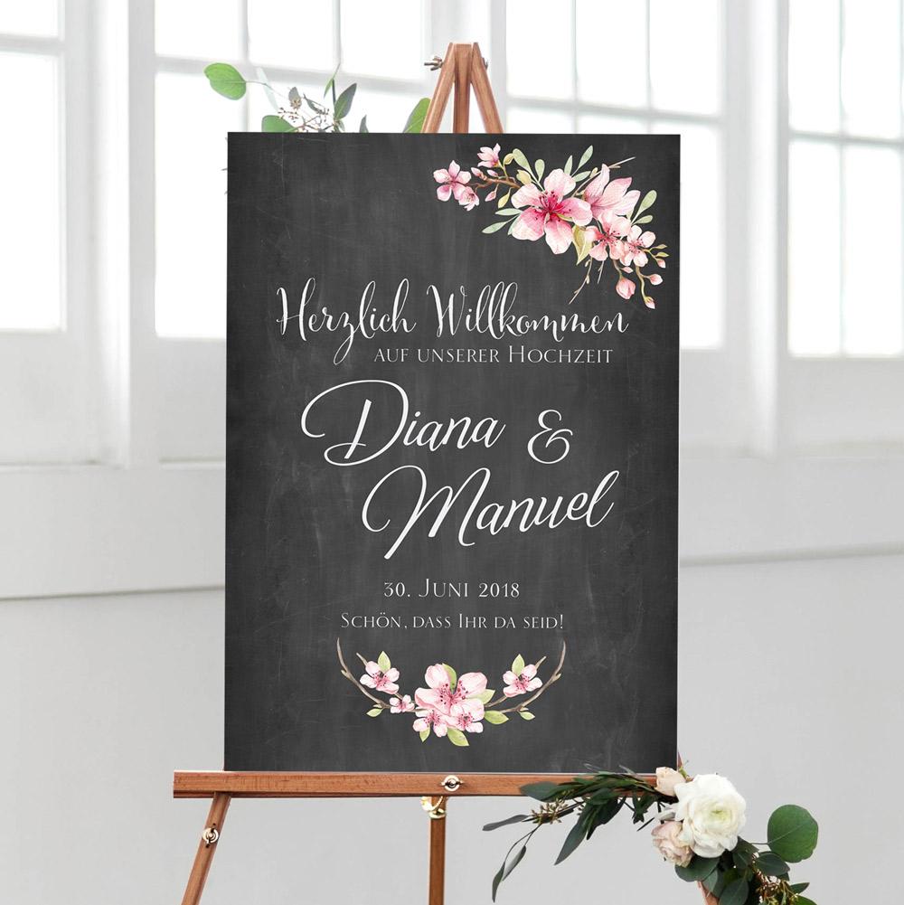 Hochzeit Willkommen Empfangsschild dunkel