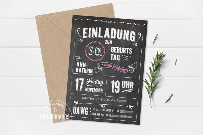 """Retro Einladung Geburtstag """"Augen zu und Party"""""""