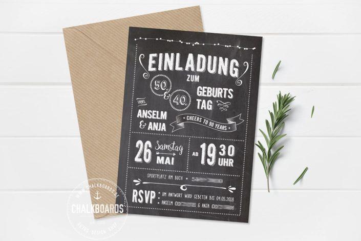 """Retro Einladung Geburtstag dunkel """"Cheers to 90 Years"""""""