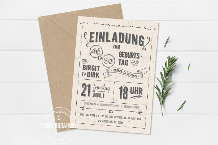 """Retro Einladung Geburtstag hell """"Cheers to 90 Years"""""""