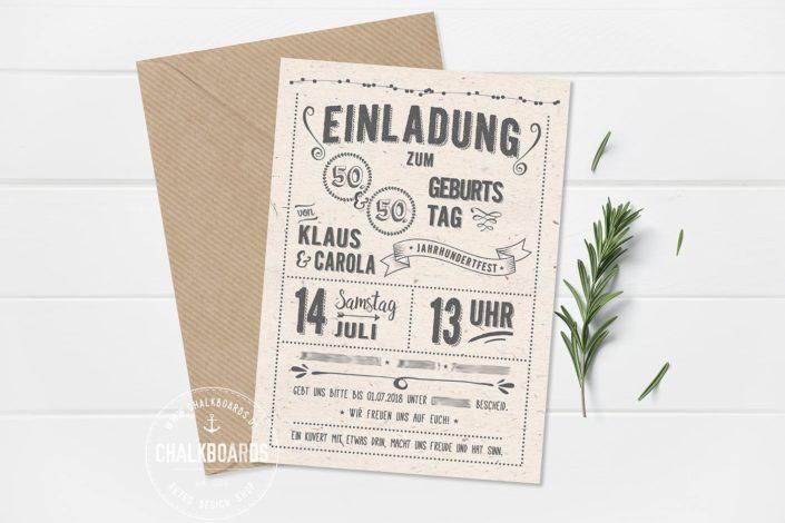 """Retro Einladung Geburtstag """"Jahrhundertfest"""""""