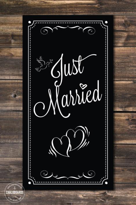 """Schild zur Hochzeit """"Just Married"""""""