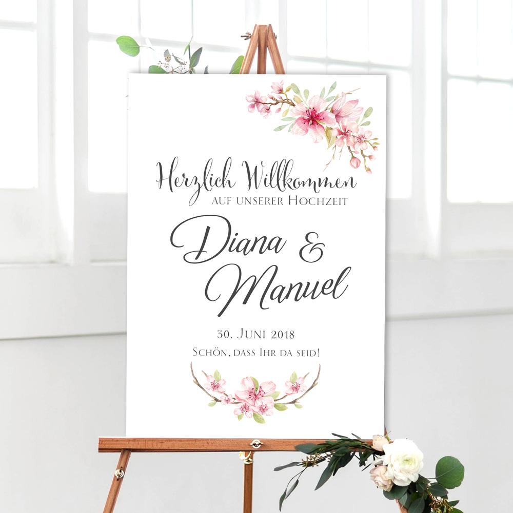 Hochzeit Willkommen Empfangsschild weiß