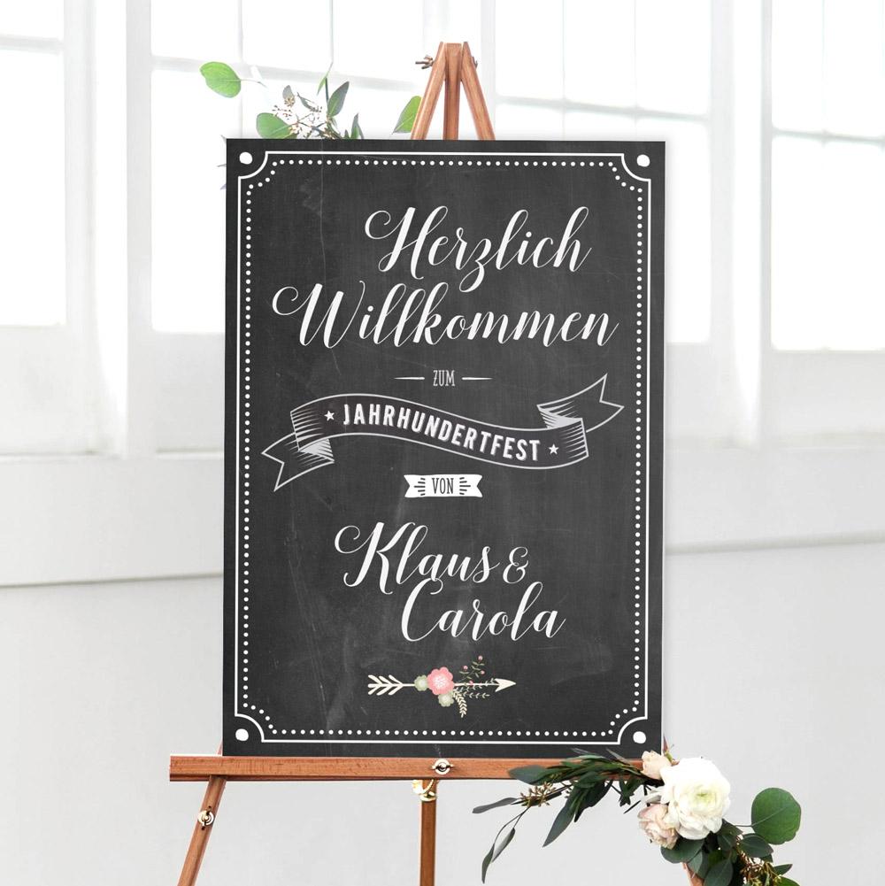 """Chalkboard """"Willkommen"""" Empfangsschild dunkel"""