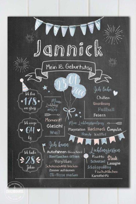 Chalkboard zum 18. Geburtstag