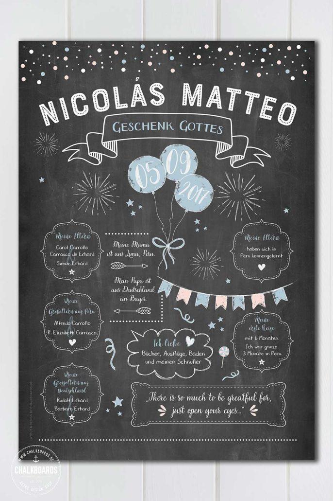 Individuelles Baby-Chalkboard für Nicolás Matteo