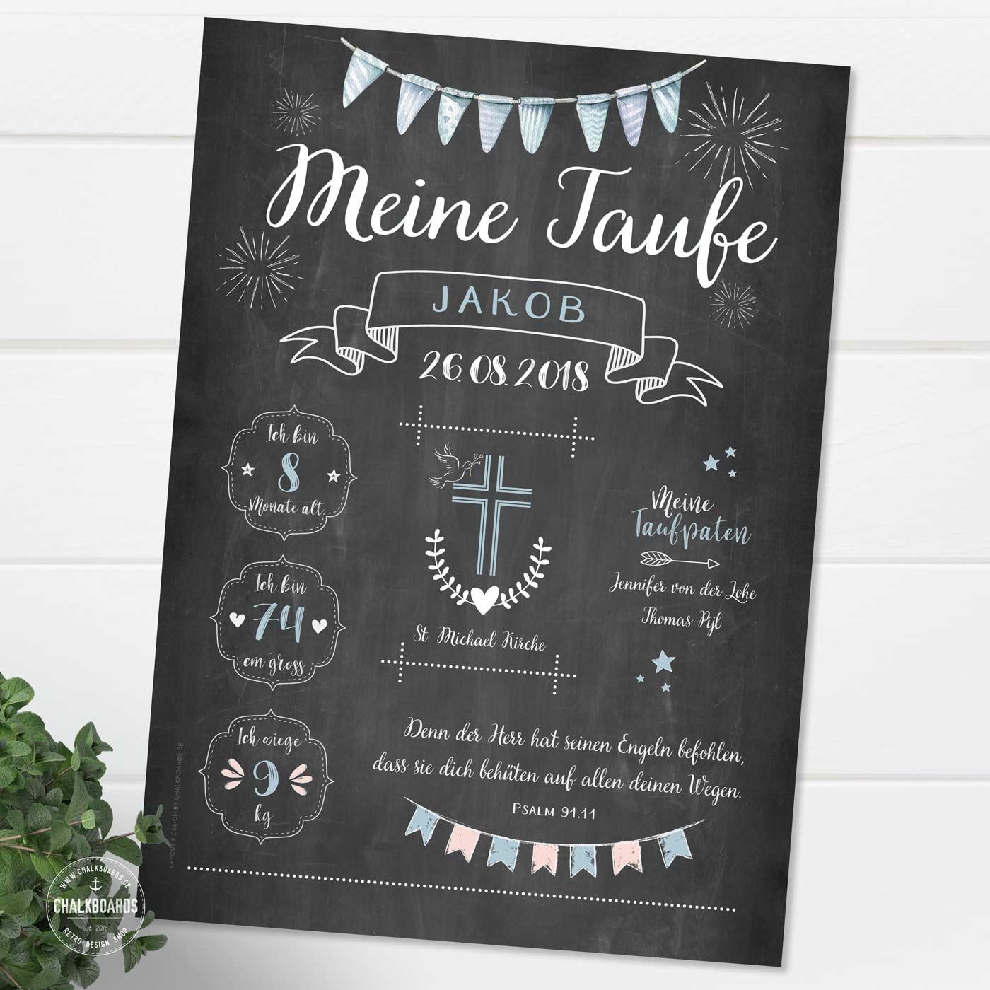 Chalkboard zur Taufe blau / Tauftafel / Taufposter