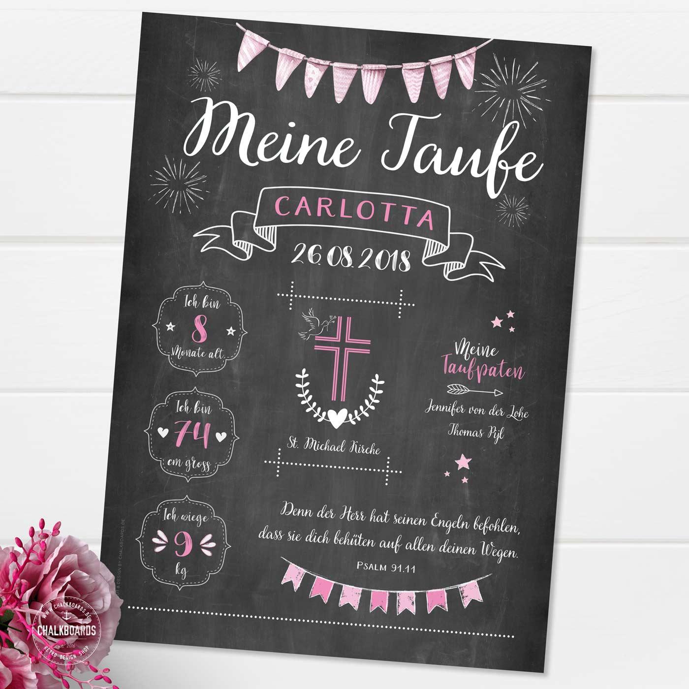 Chalkboard zur Taufe rosa / Tauftafel / Taufposter