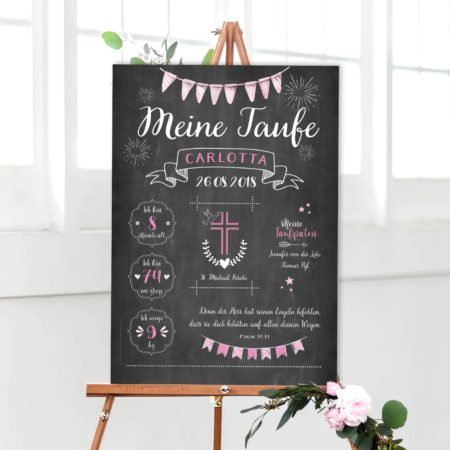 Chalkboard zur Taufe rosa / Tauftafel / Taufposter Staffelei