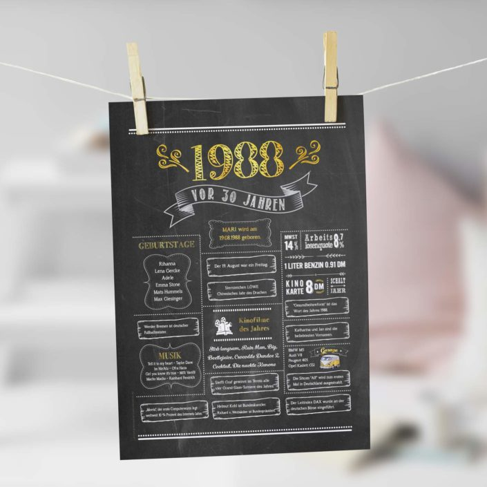 Jahrgangs-Chalkboard 1968 gold