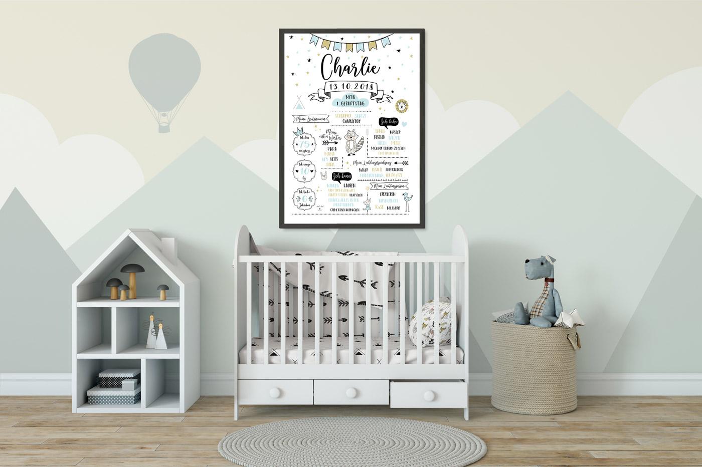 Meilensteintafel zum 1. Geburtstag skandinavisch weiß/pastellblau/gold Kinderzimmer