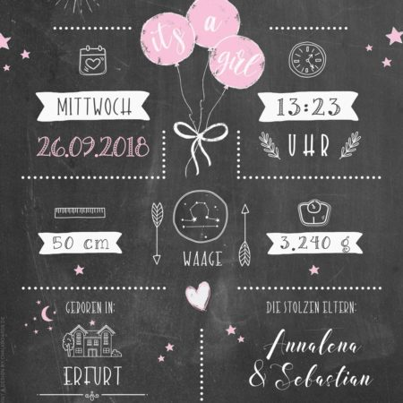 Geburtsposter dunkel - Chalkboard Design rosa / Details