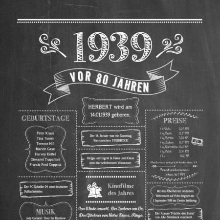 Retro Chalkboard / Jahrgangsposter 1939 Details